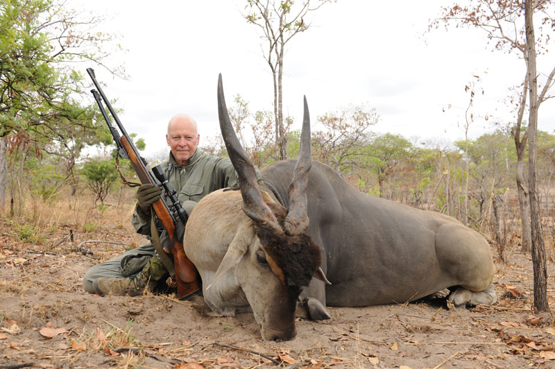 The author at the age of 66 still hunting Livingstone's eland in Northern Mocambique's Niassa National Reserve.