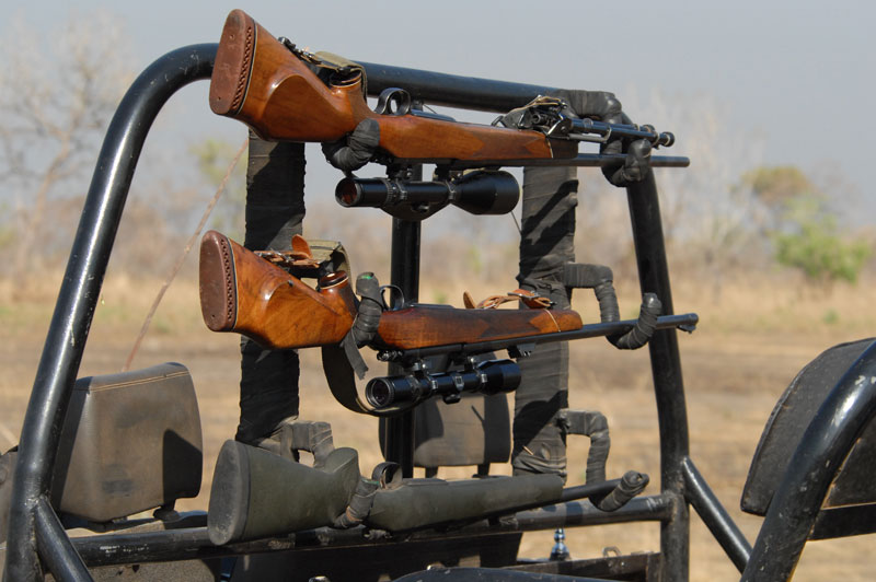 The two rifles the author most often takes on safari - a .300 Win. Mag.(top) mounted with a Schmidt und Bender scope and a .375 H&H (middle) mounted with a Zeiss Diavari Z scope - both top quality rifle scopes. As the late Dr. Lucas Potgieter used to say, 'Only a rich man can afford to use a poor scope'. As you grow older and your eye sight inevitably deteriorates, the use of quality scopes becomes more important and it is probably better to upgrade your telescopic sights than buy another rifle.