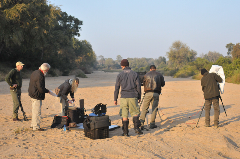 Our Kruger Park game ranger, Shane, Christie Knell, our autocue operator, Justin, Theo and Jermain in a river bed in Kruger National Park about to film one of the scenes in the documentary. We received wonderful assistance and co-operation from all in the park from the CEO to the rangers.