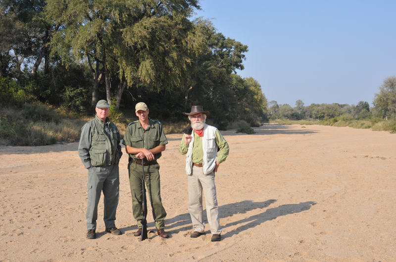 Shane and I together with our Kruger Park game ranger during the filming in a river bed in Kruger National Park.