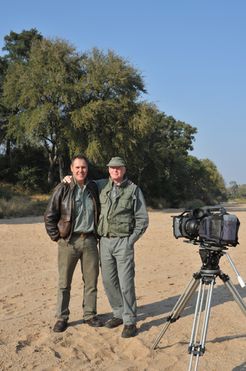 Theo and I in a river bed in Kruger National Park during the filming of the documentary. We are not entirely sure how many films we have made together over the last 24 years but guess it is more than 30 and less than 50.