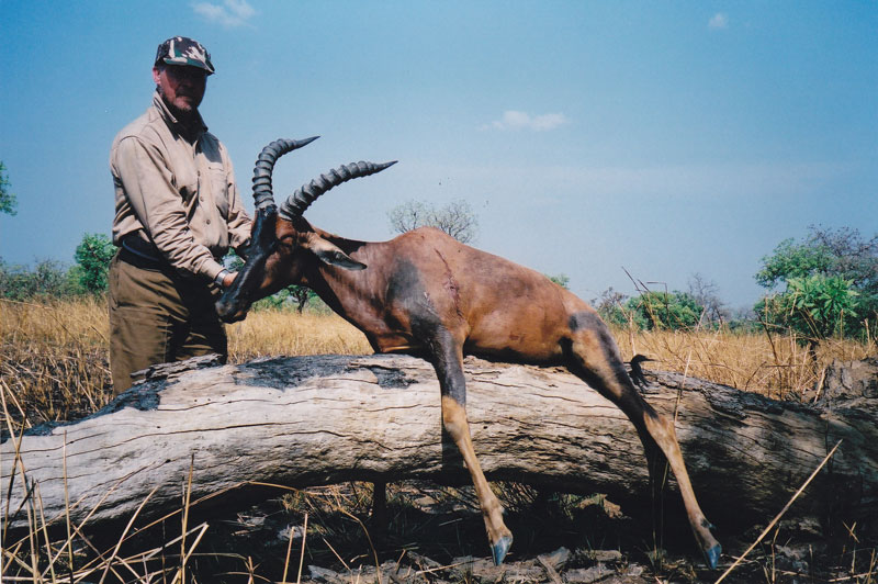 The author with a mediocre korrigum - a member of the damalisc family to which blesbok and bontebok belong - shot with Alain Lefol in southern Chad - c Peter Flack