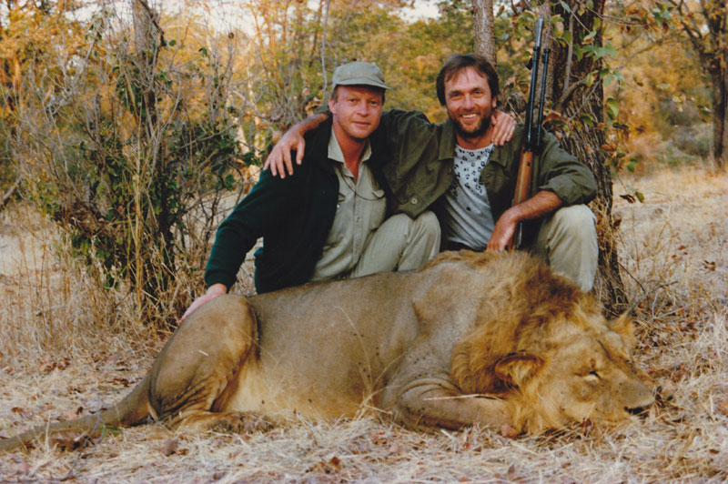 My good friend, Derek Carstens and the lion he shot with my .375 in Zimbabwe after a day out together river rafting down the Zambezi River proving, if it were necessary, that the only thing certain about hunting the big cats is their uncertainty.
