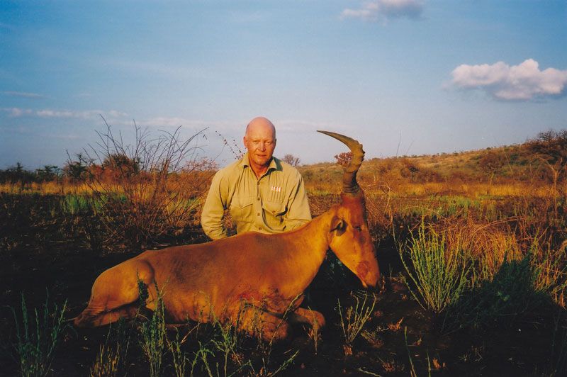 The writer and the one and only Neumann's hartebeest which he has hunted. This one shot along the Sala River in south western Ethiopia with Jason and Nassos Roussos of Ethiopian Rift Valley Safaris.