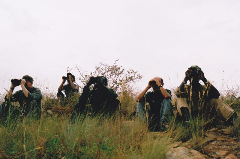 Glassing for lesser kudu in the Ethiopia's Wollaety Hills in the Omo Valley. From left to right: the author, Admasu, the regional game scout, Koli, the national game scout, Nassos Roussos and Degino, his Karo head tracker, subsequently shot to death by a fellow employee with an AK47.