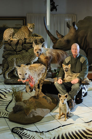 PHF and part of his collection of natural history specimens on Bankfontein game ranch before they were moved to Iziko Museum of South Africa in Cape Town.
