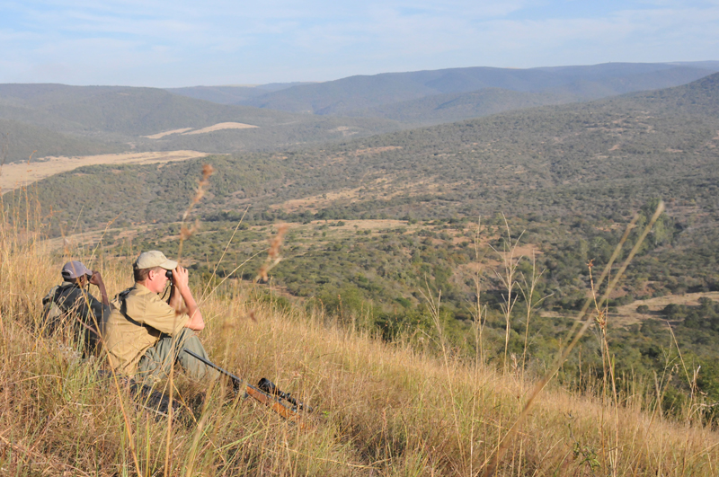 Peter Kennedy and Juba glassing the Nhlamvini Valley looking for the big nyala bull they had seen there before.