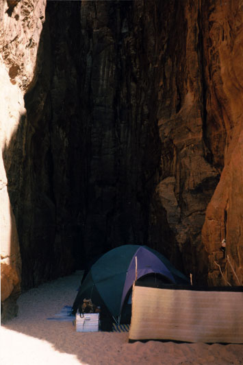 Our camp in a narrow blind canyon. We shared the spring at the back with some nomads but the canyon sheltered us from the vicious desert winds.