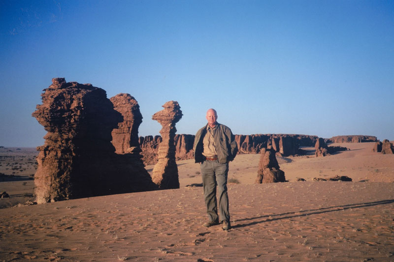 The author standing among some of the weird rock formations in the Ennedi Mountains in the Sahara Desert not far from the border with Libya.