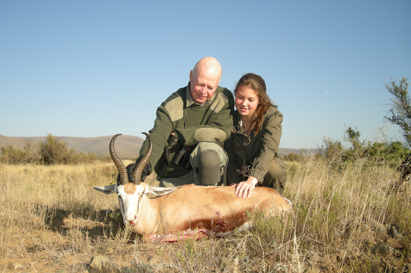 Admiring Steffi's wonderful springbok with her, unaware that this would be my last hunt on Bankfontein.