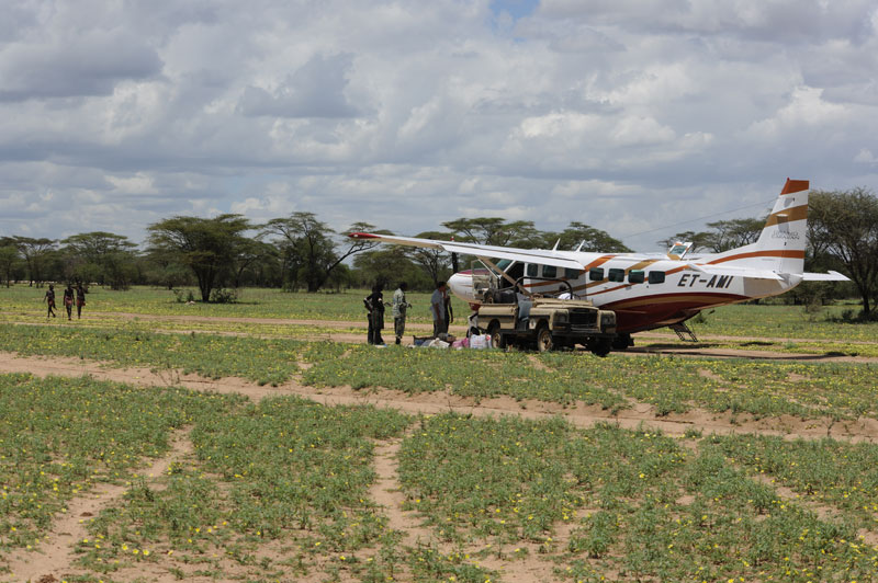 Packing our chartered Cessna Caravan on the dirt landing strip in the steaming hot Omo Valley, after my fourth and only successful Abyssinian greater kudu hunt, en route to Dati in west central Ethiopia to hunt Nile buffalo and Abyssinian waterbuck.