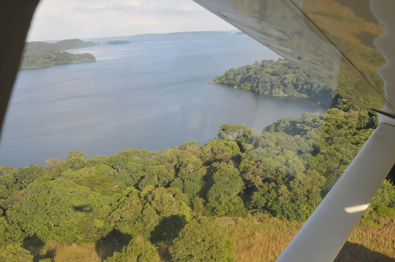 Flying from Entebbe over the various islands that make up the 84 island group forming the Ssesse Island Archipelago.