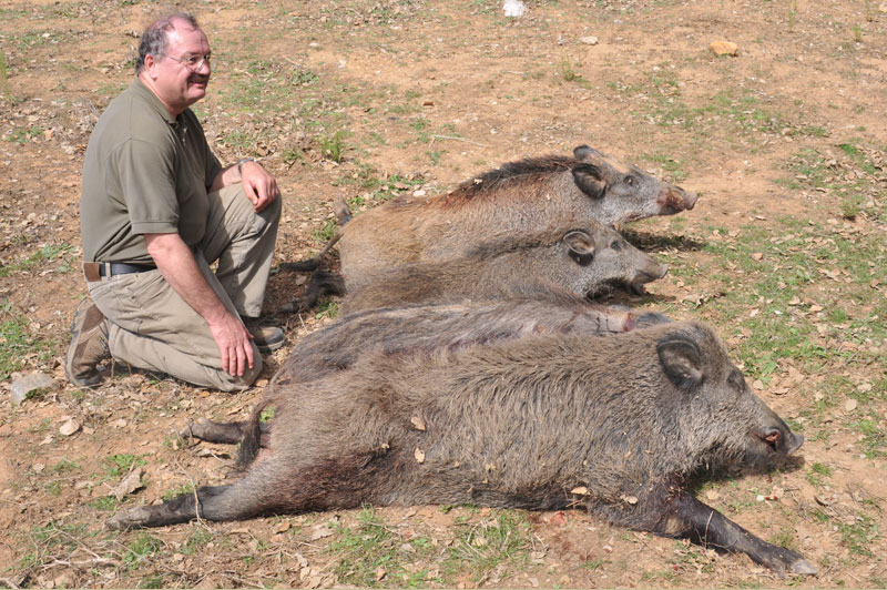 Rudolph Hertzeberger, the surgeon in our shooting group, who culled four pigs with seven shots on our first day in Tunisia. Rudolph was the top shot during our week long culling trip and shot 6 pigs in all.