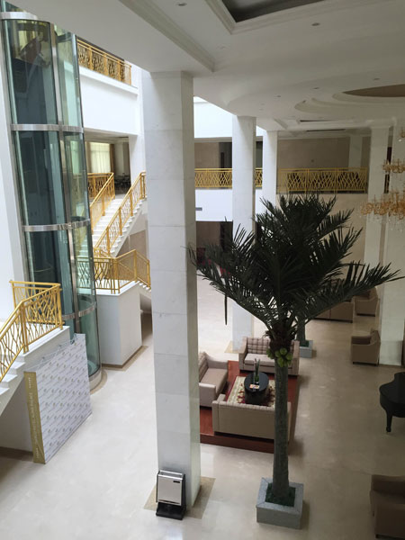 The empty foyer of the luxury hotel President Denis Sassou-Nguessou built for his daughter to manage in Oyo, his birthplace, which he apparently visits only four times a year